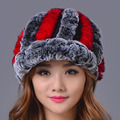 2016 Women Casual Striped Rex Rabbit Fur Hat Fur Ball Real Warm Elastic Hats Colors Winter Elegant Lady Beanies Cap High Quality