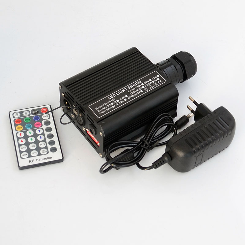 DMX 16W RGBW LED Fiber Optic Engine Driver+28key RF Remote controller for all kinds fiber optics 2016 new rgbw 16w led fiber optic engine driver with 28key rf remote controller for all kinds fiber optics