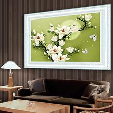 Needlework,DIY DMC Cross stitch,Sets For Embroidery kits,Magnolia Flowers Patterns 3D Counted Cross-Stitching,Wall Home Decor