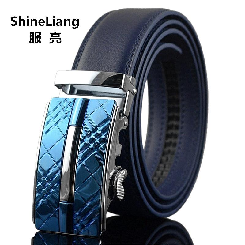 Menns belte Automatisk spenne Lærbredde 3,5 cm Lengde 110/120 / 130CM Designer høy kvalitet Mote merke svart blå stropp mann
