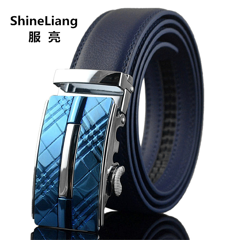 Men's   Belt   Automatic buckle Leather width 3.5CM Length 110/120 / 130CM Designer high quality Fashion brand black blue strap male