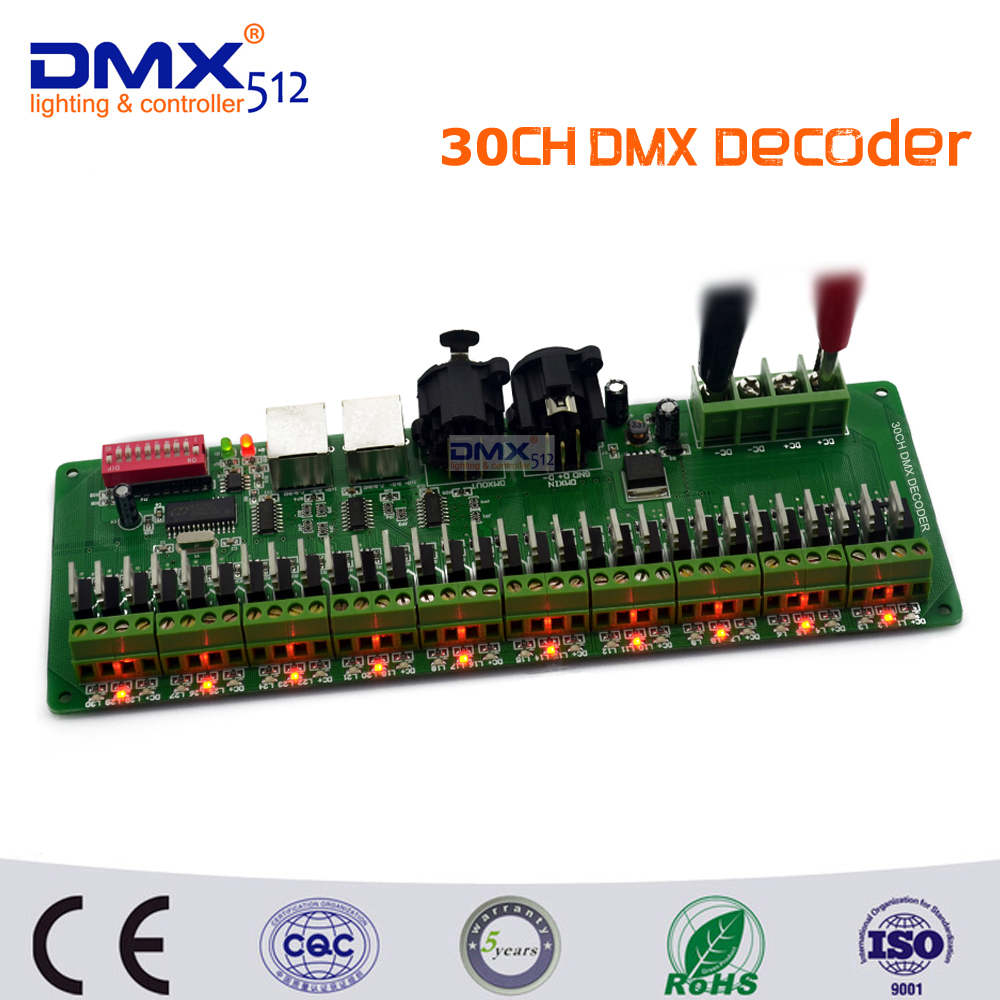 DHL Free shipping 30 channel Easy DMX rgb LED strip controller decoder dmx512 decoder controlador dmx dimmer 12v console 24ch 24channel easy dmx512 dmx decoder led dimmer controller dc5v 24v each channel max 3a 8 groups rgb controller iron case