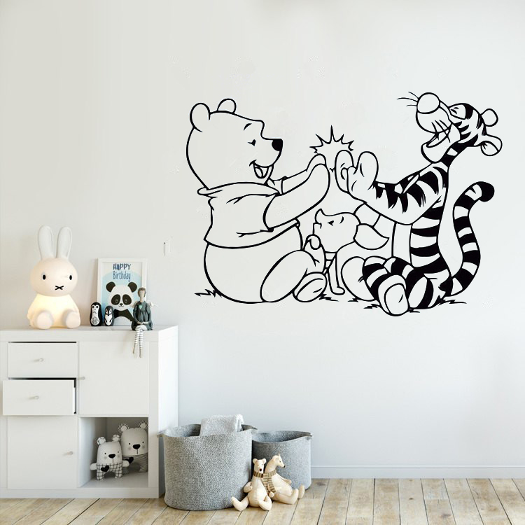 Winnie The Pooh Wall Decal Tigger Piglet Cartoon Vinyl Sticker Removable Kids Room Decor Babys Bedroom Wall Vinyl Decals AY0198