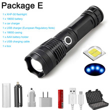 27000LM XHP70 LED Flashlight Ultra powerful XHP50 flashlight Zoom USB 18650 26650 hunting lamp rechargeabl