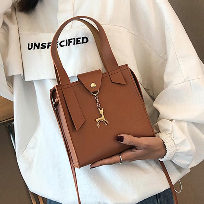 Women Small Square Bag PU Leather Deer Decor Handbag Crossbody Messenger Bags New Fashion Crossbody Bags For Women Bolsos Mujer