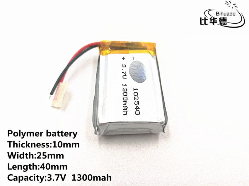 Хорошее качество 3,7 в, 1300 мАч, 102540 полимерный литий-ионный/литий-ионный аккумулятор для игрушек, банка питания, gps,
