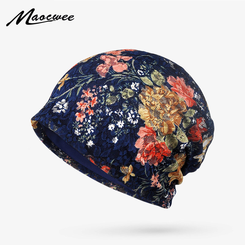 Floral   Beanie   Hat Women Spring Summer Thin Hat Pregnant Female Lace Jacquard Breathable Women's   Skullies     Beanies   Collapsible