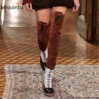 MIQUINHA Mixed Colors Women Boots Patent Leather Zipper Cross Strap Sapatos Mulher Square Heel Schoenen Vrouw