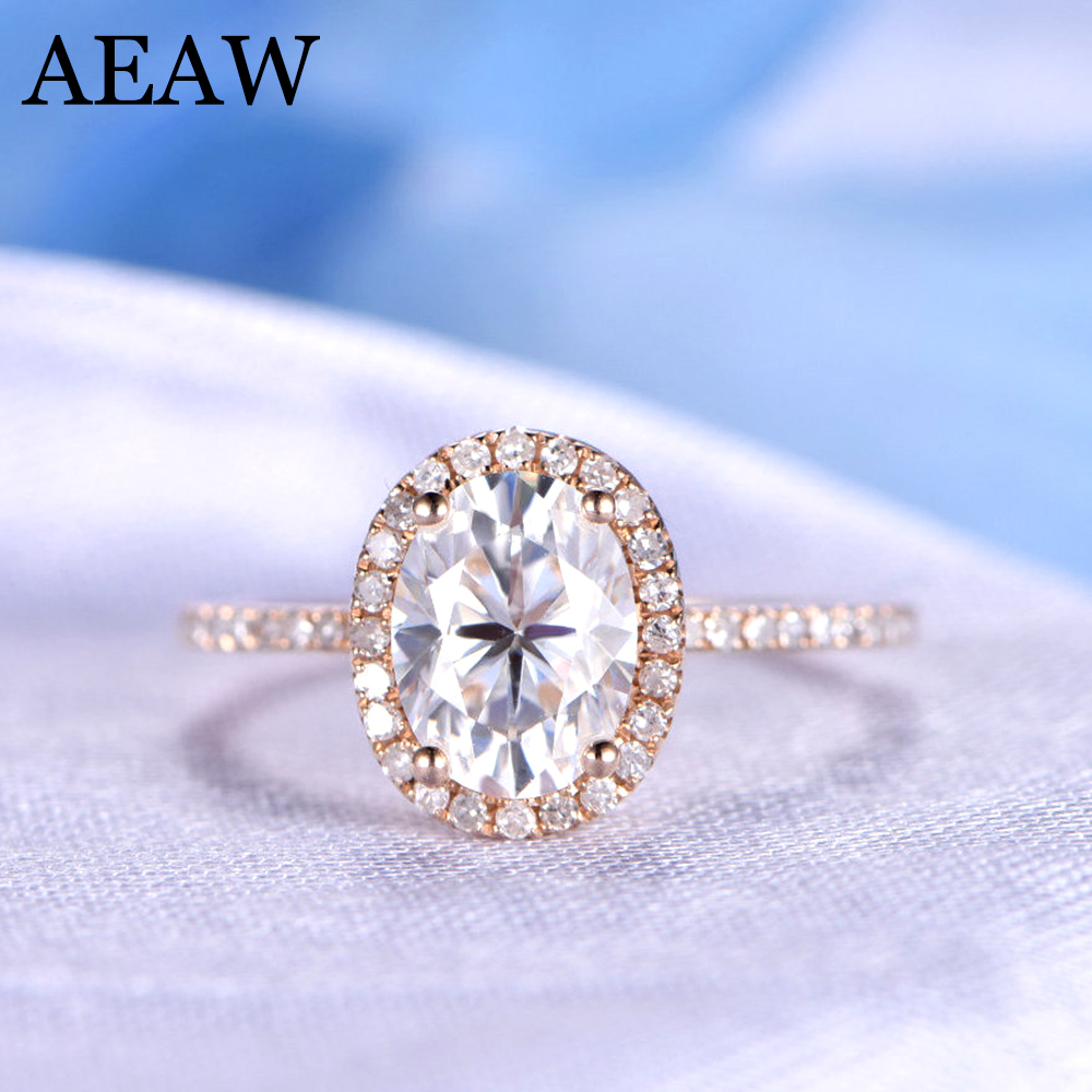 Gorgeous 1 Carat ct DF Color Lab Grown Oval Moissanite Diamond Ring Halo Engagement Wedding Ring 14K 585 Rose Gold цены