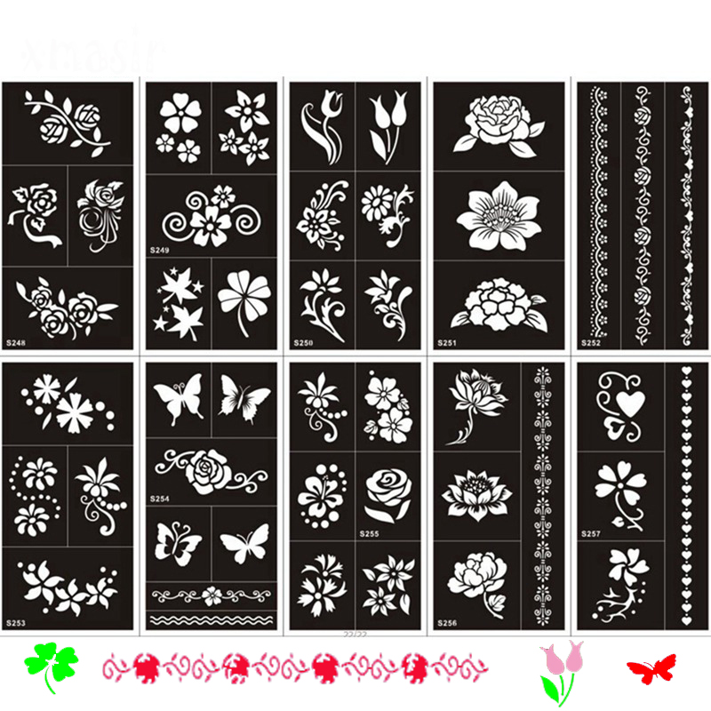 Tattoo & Body Art temporary Glitter Airbrush Temporarytattoo For Women Agreeable To Taste Aliexpress Direct 1 Pcs Indian Henna Tattoo Templates For Hand Body Paint Temporary Tattoos