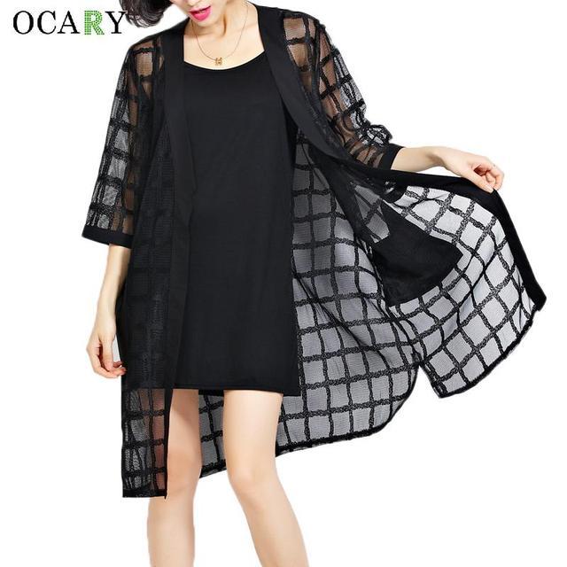 Plaid Women Shirts Organza Beach Cardigan Kimono Long Blouse Summer Blouses Body Top Black Camisa Mujer Big Size Blusas 2016