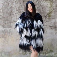 CX-G-A-24B 2018 European New Fashion Ladies Fur Clothing Genuine Goat Fur Coat