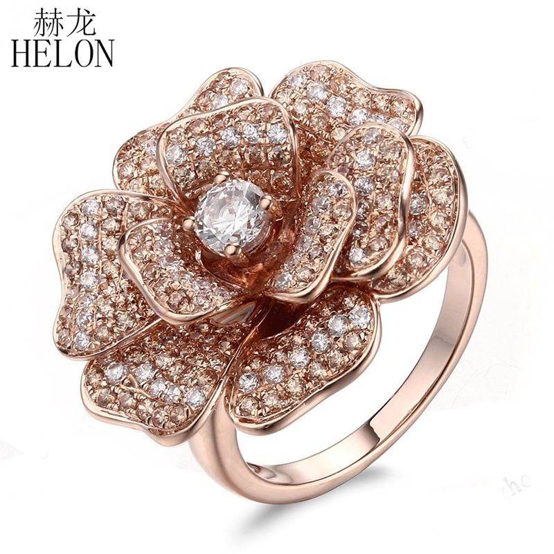 HELON Sterling Silver 925 Flawless Round AAA Cubic Zirconia Ring Women Flower Anniversary Engagement Ring Trendy Fine JewelryHELON Sterling Silver 925 Flawless Round AAA Cubic Zirconia Ring Women Flower Anniversary Engagement Ring Trendy Fine Jewelry