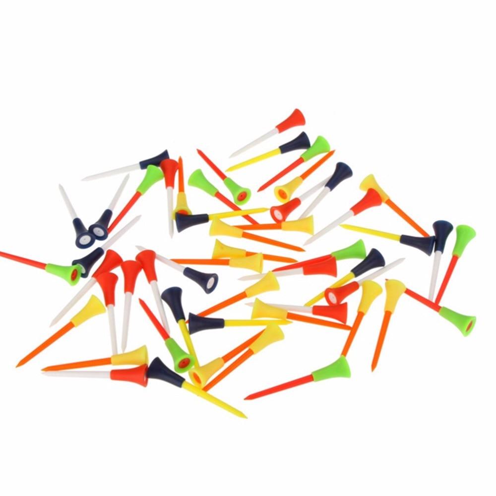 Golf tee 83mm Plastic Golf Tees Rubber Cushion Professional Multicolor golf tees 100pcs/lot free shipping