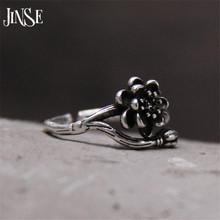 JINSE 1PC NEW Vintage Retro S925 Silver Rose Flower Vine Finger Rings Womens Punk Ring Jewelry HOT Free Ship 10mm 2G