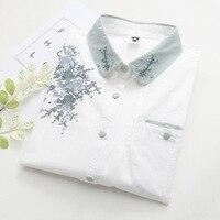 ONTFIHS Kobiet Koszula Kobiet Góry Moda Sweter Woemn's Tunika Biała Topy z Kwiatów W Stylu Vintage Haft Bluzki S-60