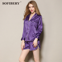 SOFIBERY Women S Sleep Lounge Sexy Simple Imitation Silk Nightgowns Women S Long Sleeves Robe WPX