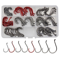 Hyaena 160pcs/Box 7384 High Carbon Steel Carp Fishing Hooks Bait Circle Offset Fishhook Set Octopus Fishing Barbed Hooks