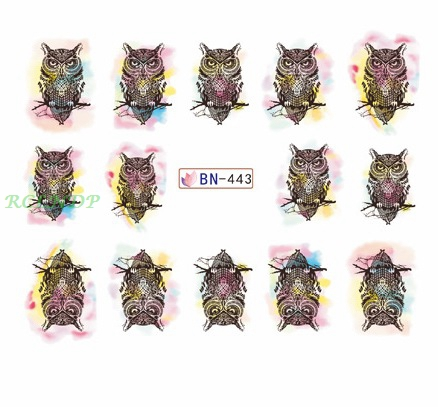 Water sticker for nail art decoration slider owl skull dreamcatcher butterfly watercolor nail design decal lacquer