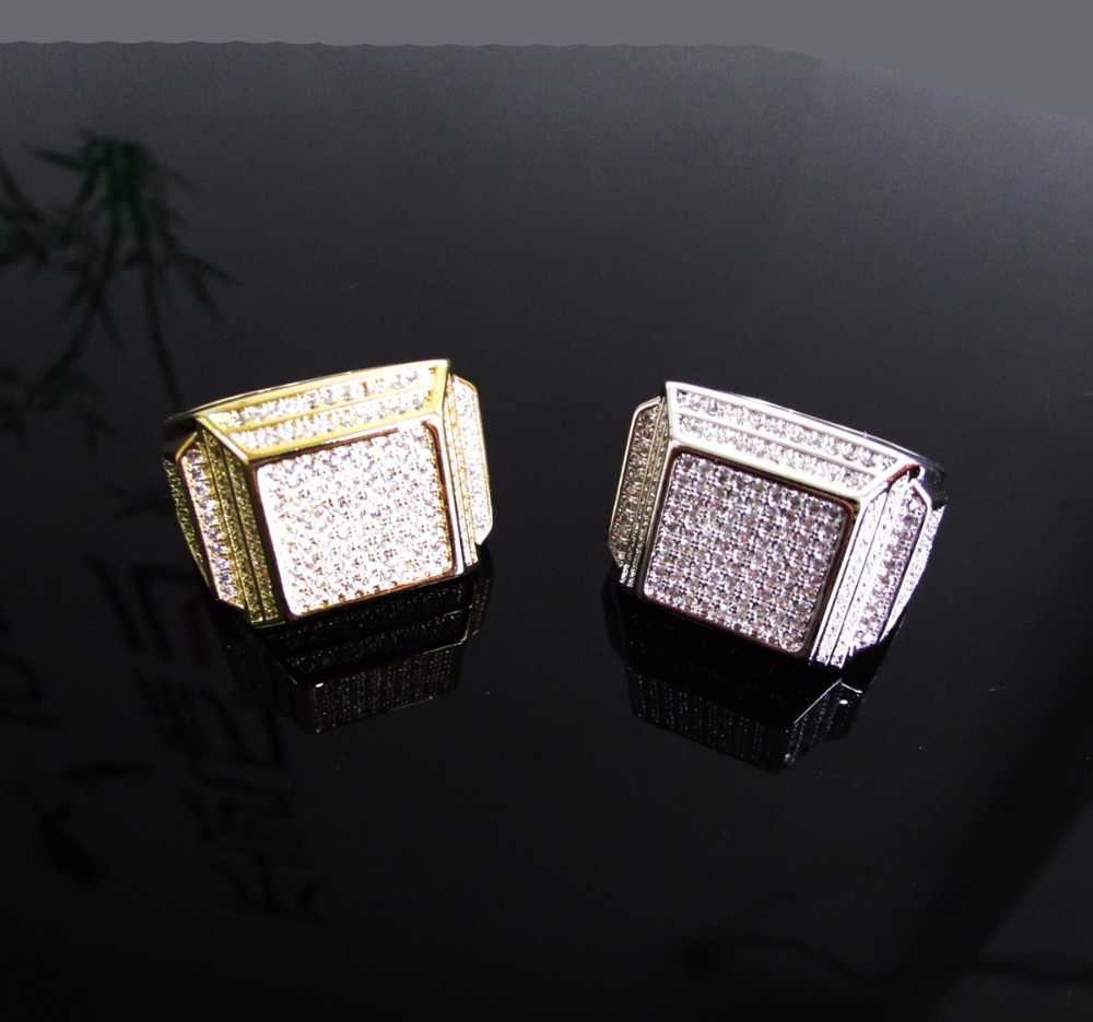 Высокое качество кольцо в стиле хип-хоп Iced Out высокого качества микро Pave CZ кольца женское и мужское Золотое кольцо для подарка