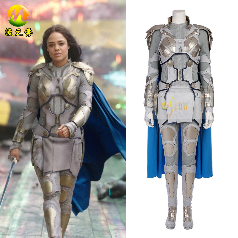 Top Quality The Thor 3 Ragnarok Valkyrie Cosplay Costume The Thor Valkyrie Costume For Halloween Women Leather Full Set Dress