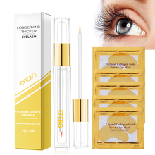 5Pair Crystal Gold Eye Mask Patches Under Care Anti Wrinkle Dark Circles +1Pcs Eyelash Growth Serum Essence Set