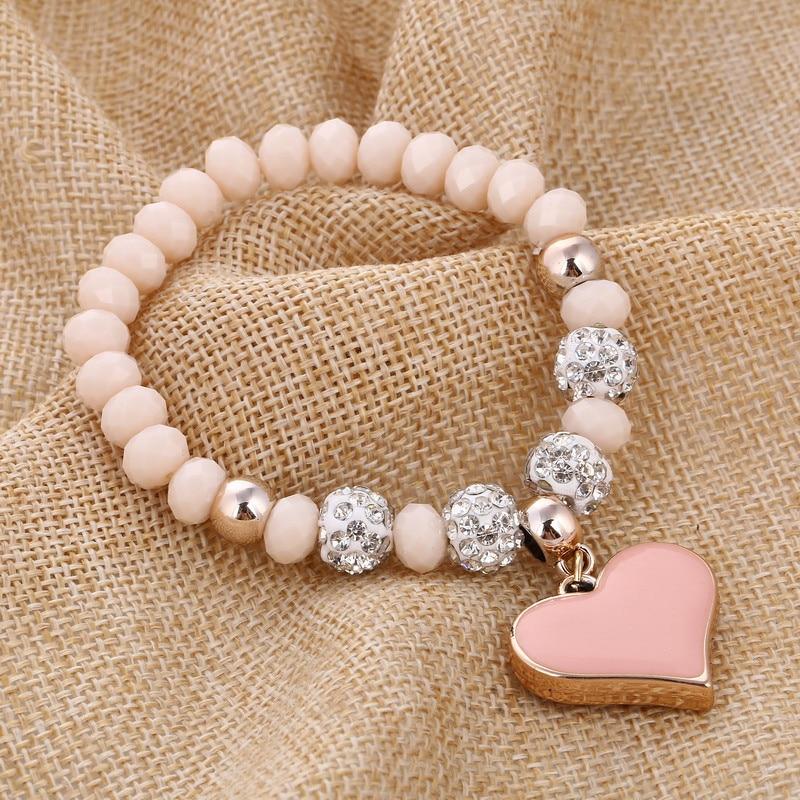 ZOSHI Vintage Bracelets Jewelry Crystal-Beads-Fit Romantic Bling Women Heart for