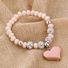 ZOSHI романтические винтажные браслеты для женщин, браслеты с подвеской в виде сердца с блестящими хрустальными бусинами, подходят для браслетов Pan, ювелирные изделия