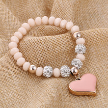 ZOSHI Romantic Vintage Bracelets For Women Heart Pendant Bracelets with bling crystal Beads Fit Pan Bracelets Jewelry cheap Fashion Cute Romantic None SL745A Easy-hook Zinc Alloy Charm Bracelets Rope Chain Fits all