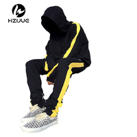 HZIJUE 2017 Stripes Hoodies Mens Male Hip Hop Male Brand Hoodies Color Sportswear Sweatshirt Hppded Men