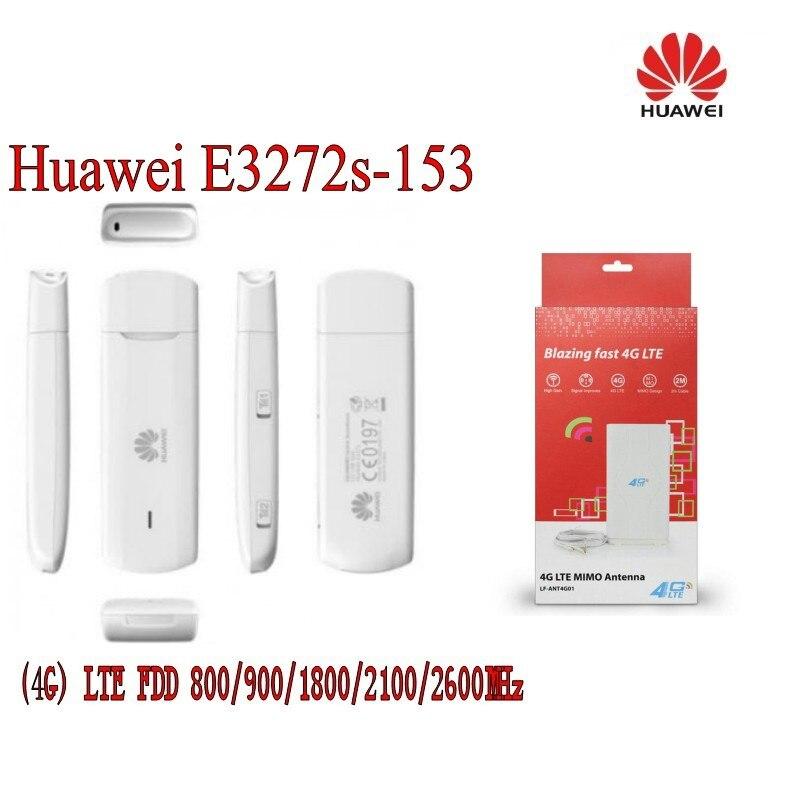 Huawei E3272s-153 LTE FDD800/900/1800/2100/2600Mhz Cat4 150Mbps Wireless USB Modem+ 4g antenna 49dbi unlocked huawei e5372 e5372t 3560mah 4g lte cat 4 modem wifi 150mbps wcdma fdd800 900 1800 2100 2600mhz wireless usb dongle