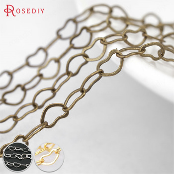 (27311)2 meters width 3MM Antique Bronze Plated Copper Heart Link Chains Necklace Chains Diy Jewelry Findings Accessories