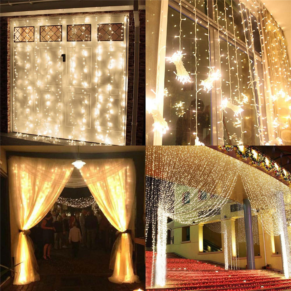 Delicieux White 6* 3M 600LED Fairy Curtain Lights Wall Wedding Bedroom Home Outdoor  Curtain Male Female Connector IP65 Memory Controller In Holiday Lighting  From ...