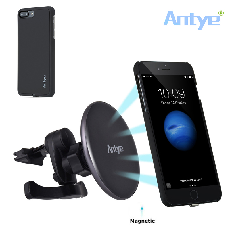 360 Degree Rotation Car Qi Wireless Charger Mount Holder for iPhone 7/7 Plus Magnetic Wireless Car Charger Phone Case Cover