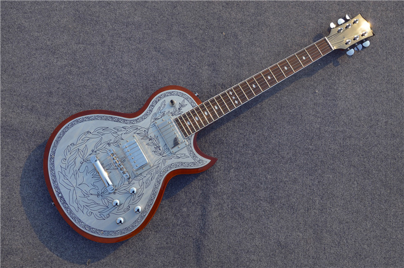 Top quality custom NEW silver carved top LP guitar Alden metal flower aluminum top electric guitar China Musical instrument new arrival custom 22 lp guitar with tin top custom guitar & kit available