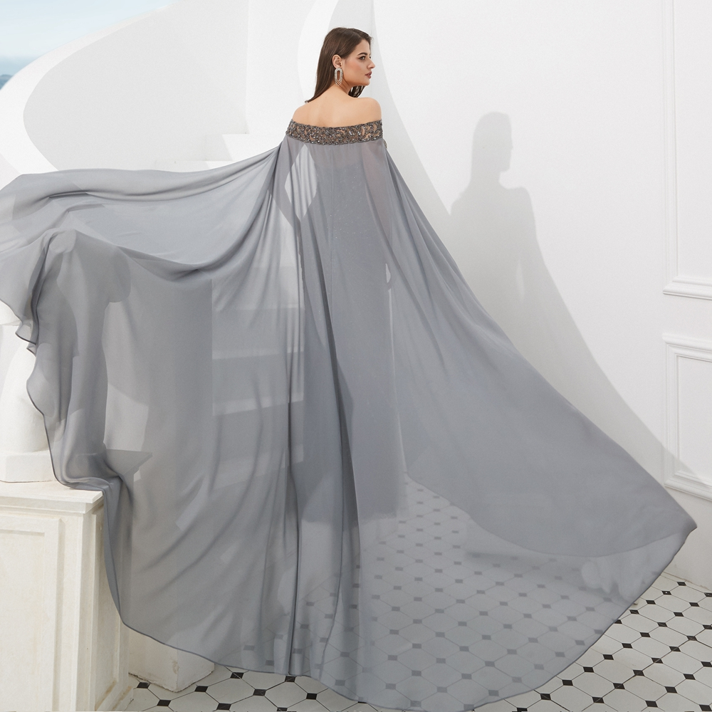 Long Formal Gray Evening Dresses Beading Crystal Mermaid with Chiffon Bolero Lace Backless Prom Gown 2019 Walk Beside You Abiti
