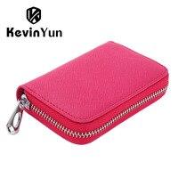 KEVIN YUN Designer Brand Women Credit Card Holder Split Leather Ladies Small Card Case Wallet