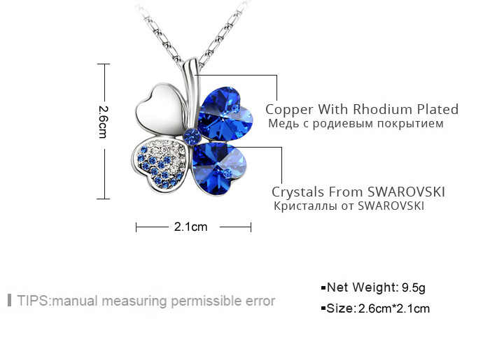 7a0ae00ba6a85 ANNGILL Four Leaf Clover Pendant Necklace Crystals From Swarovski Elements  High Quality Fashion Jewelry Women Christmas Gift