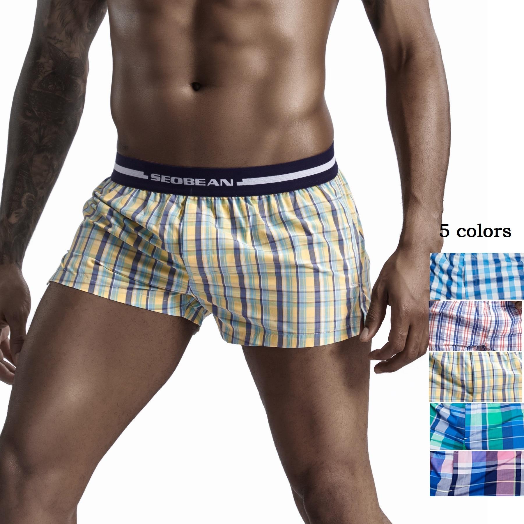 SEOBEAN Front Open Men Cotton Pajama Boxer Shorts U Bag Lined Plaid Tracksuit Home Pyjama Man Sleep Casual Short Cortos Hombres