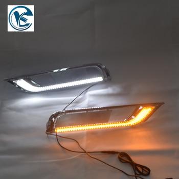 For Honda CRV CR-V 2015 2016 12V LED DRL Daytime Running Lights Daylight fog lamp with yellow turn Signal style relay