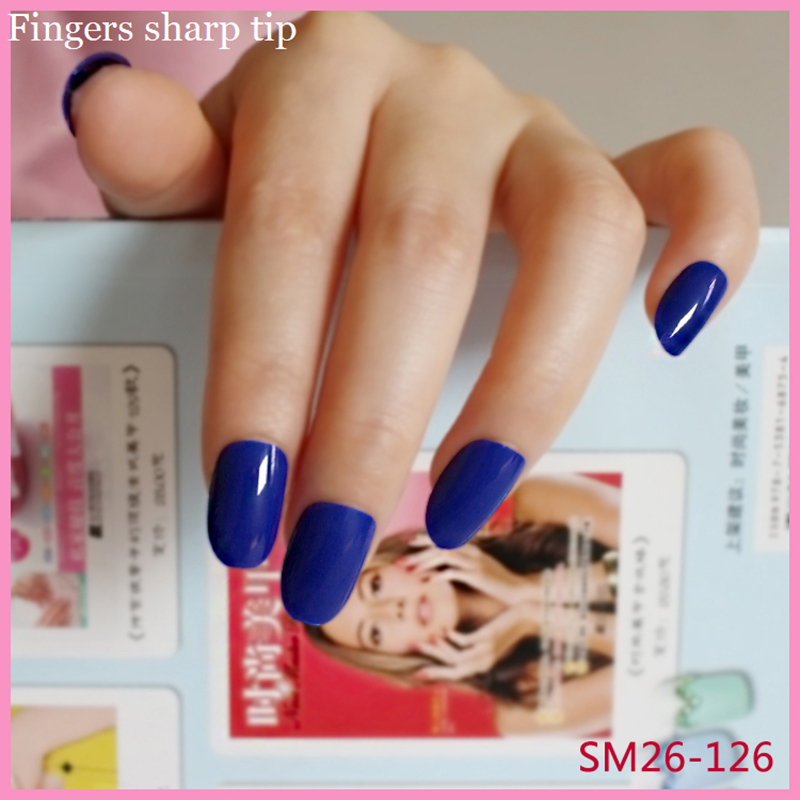 24 Pcs Long Round Head Blue Fake Nails Candy Color Solid Color ...
