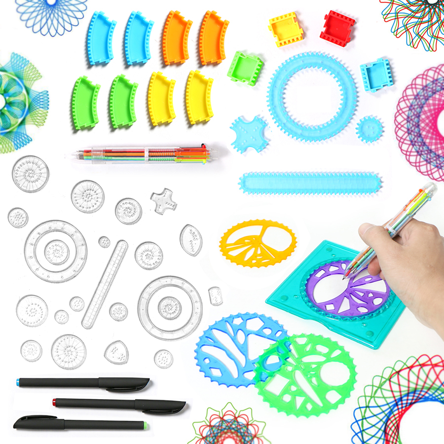 Drawing Toys Spirograph Enfant 22pcs Interlocking Gears & Wheels Design Drawing Accessories Creative Educational Kids Toys