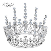 PEORCHID Beautiful Princess Bride Tiaras And Crowns Gold/Silver Round Tiara Wedding Hair Accessories For Women Pageant Crowns