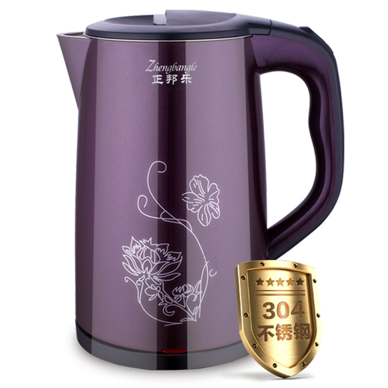 304 stainless steel electric kettle, double-layer anti scalding kettle, household electric kettle electric kettle