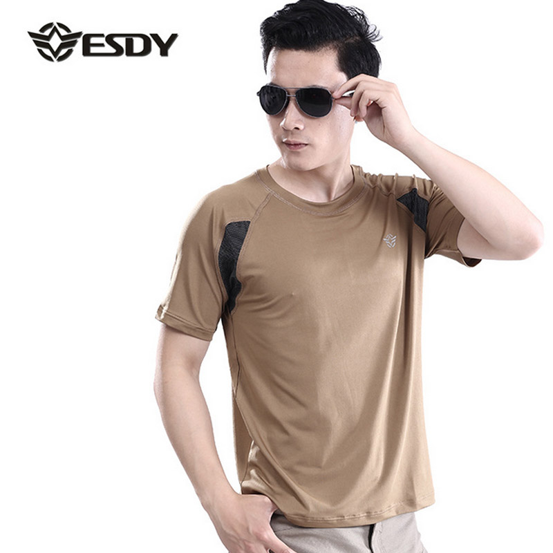 Hot 2017 Outdoor ESDY Summer Thin Elastic Military tactical Cargo Jungle soldier Patchwork short Sleeve Tshirt Stretch Camo tees