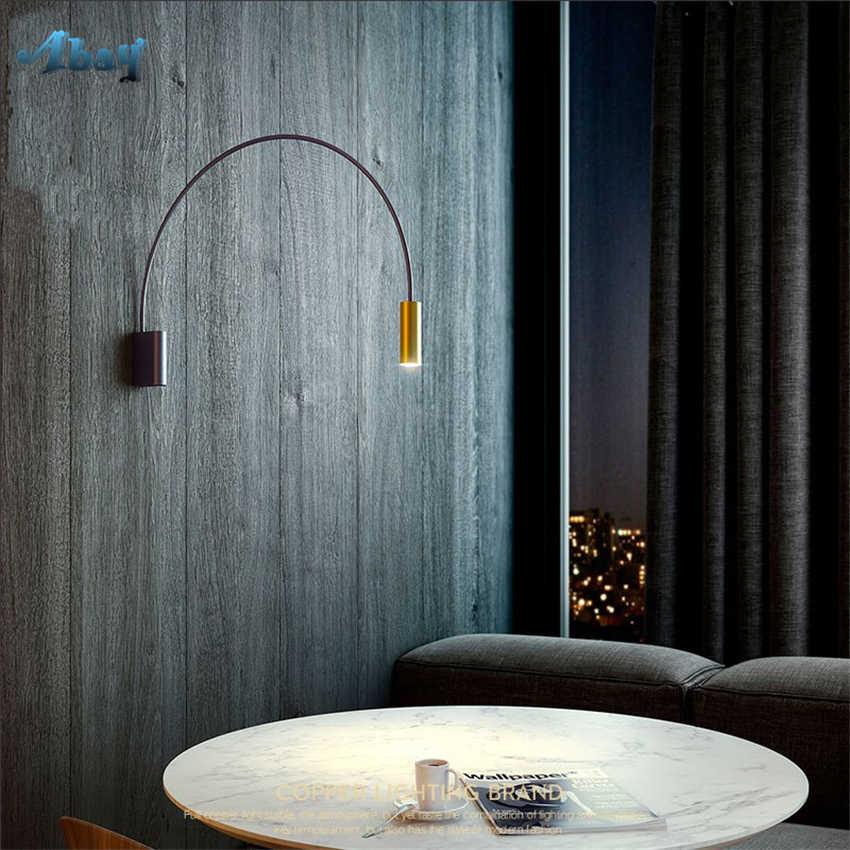 Медные скандинавские простые прикроватные настенные лампы в американском стиле Коридорная лестница дизайнер Гостиная Кабинет Бра Светильники