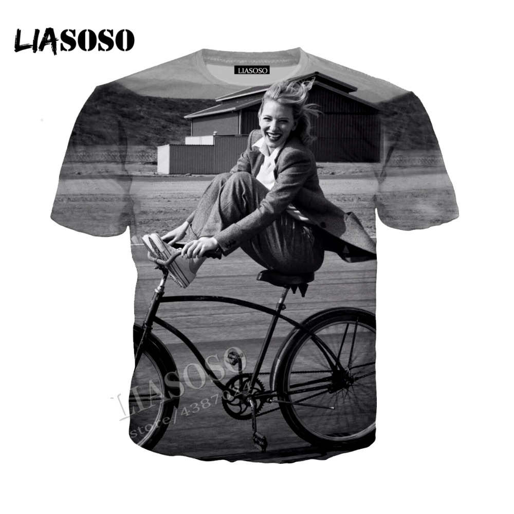 LIASOSO new high quality simple neutral T-shirt famous actor T shirt casual Tshirt Cate Blanchett 3D printing Tees CX055