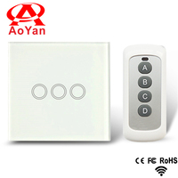 Aoyan standard EU/UK Standard Remote Control Switch 3 Gang 1Way AC 110 250V Touch Switch ,Compatible Broadlink RM2 RM Pro