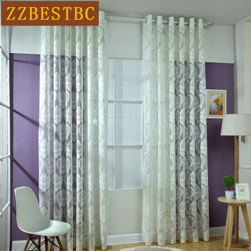 3 colors modern  jacquard lace tulle curtains for Living Room luxury Voile Curtain for Bedroom Window Tulle curtain kitchen