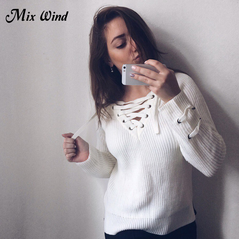 Mix Wind Knitted Winter Sweater Women 2017 Jumper Women s Fashion Novelties V Neck Pullover Sexy